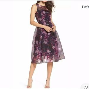 Adrianna Papell Sultry Botanical fit and flare